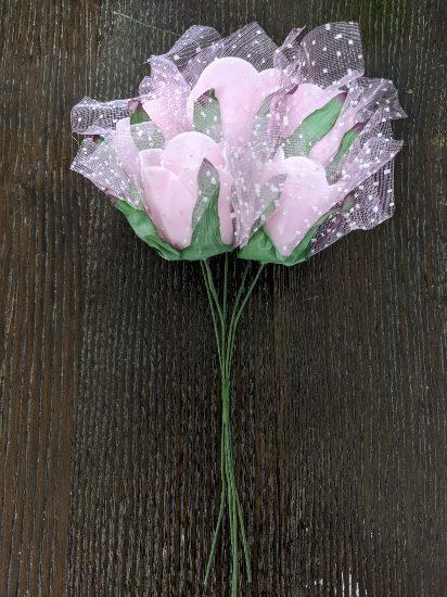 ダイソーワイヤー付き造花,ばらまきお菓子,ホワイトデー,かわいい,チョコ,子供