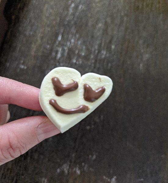 マシュマロお菓子作り、ハートマシュマロ指輪、チョコペンデコ