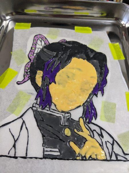 鬼滅の刃,胡蝶しのぶ,キャラケーキ,キャラチョコ,紫,肌色