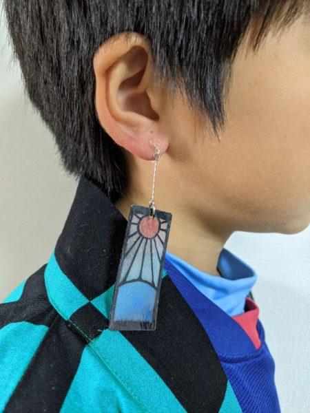 炭治郎耳飾り,作り方,鬼滅の刃,プラバン,色鉛筆,